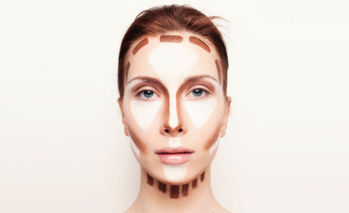 Apply the contouring powder or cream along the edges of your forehead, under the cheekbones and edges of the nose line.