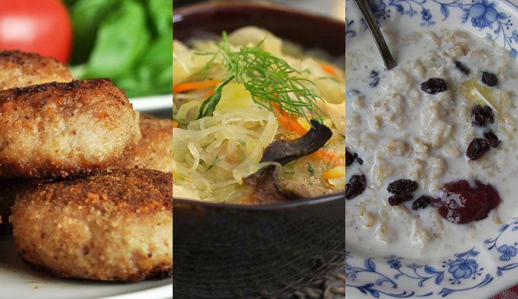 Kotlety (minced cutlets, meatballs), Shchi (cabbage soup), Porridge