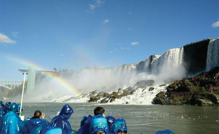 The boat ride next to Niagara Falls and witnessing rainbows.