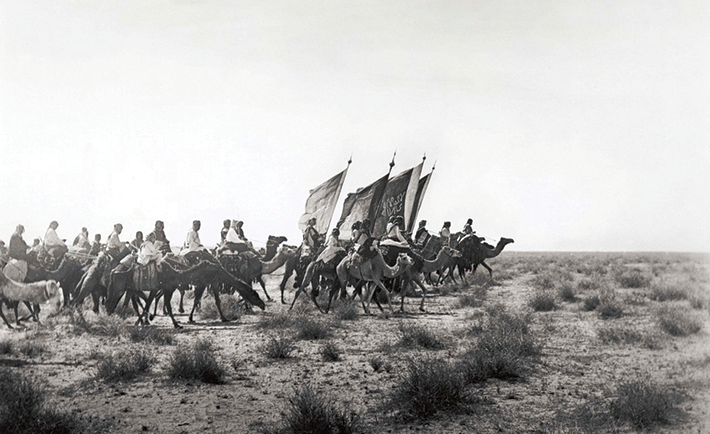 Ibn Saud's (Abd al-Aziz Ibn Saud's) army on the march near Habl.