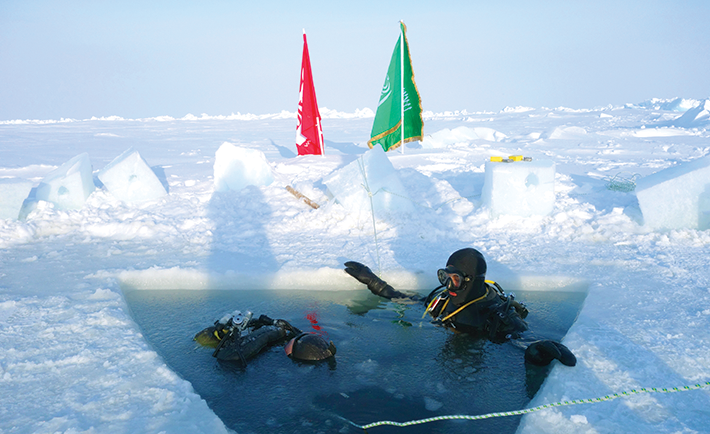 Diving 25 ft. at the North Pole.