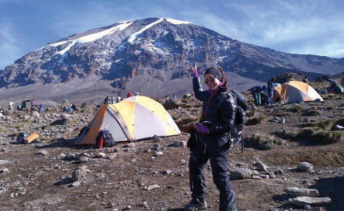 Tanzania: my eye on the Kilimanjaro summit from one of the lower camps.