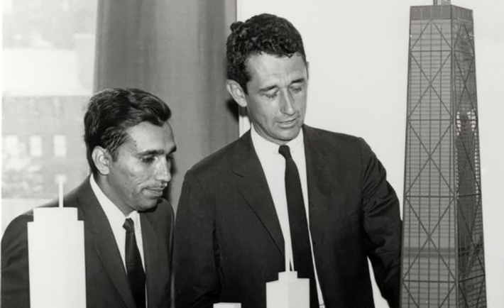 Fazlur Khan and Bruce Graham with a model of the John Hancock Center (K & S PhotoGraphics, courtesy of Skidmore, Owings & Merrill LLP)