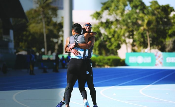 The Saudi men's team wins the gold medal during the relay.