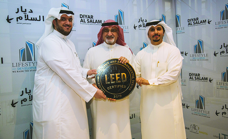 Dr. Mohammed Al Surf U.S. Green Building Council Regional Manager (LEFT), Mr. Saleh al Turki Mayor of Jeddah (Middle), Engr. Sultan Batterjee founder and CEO of Lifestyle Developers (RIGHT)