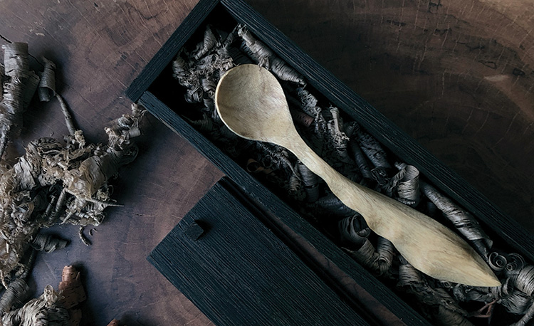 Intricately hand crafted wooden spoon by Mohammed Saad