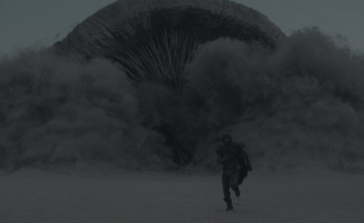 """A Sandworm in a scene from Warner Bros. Pictures and Legendary Pictures' action adventure """"DUNE,"""" a Warner Bros. Pictures and Legendary Pictures release. Courtesy of Warner Bros. Pictures and Legendary Pictures"""